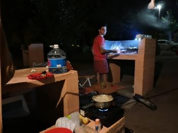 Pollito en el camping